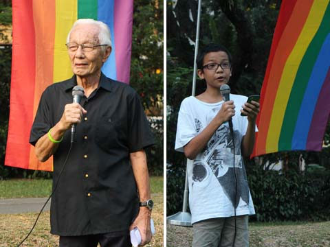 The oldest (Rev Dr Yap Kim Hao) and youngest (Theo Chen) speakers at the protest held on 24 August against persecution of LGBT persons in Russia