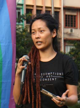 Vanessa Ho speaking at Hong Lim Park, 24 August 2013