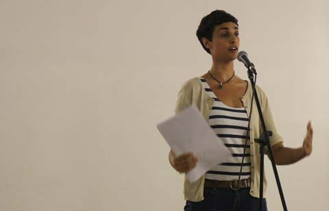 Jasmine Ann Cooray reciting her poetry at ContraDiction 2013