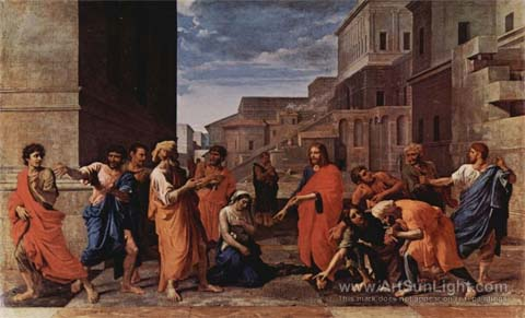 Christ and the woman taken in adultery, by Nicolas Poussin, 1594-1665