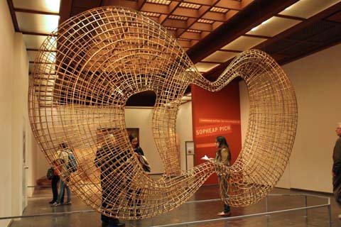 Cycle - rattan/bamboo weave sculpture by Sopheap Pich, exhibited in the Metropolitan Museum of Art, 2013