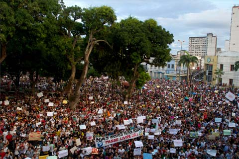 Millions of protesters demonstrated across Brazil in June 2013 over poor transport and social services. This pic is of a demonstration in Belem. Photo: Paulo Santos/Reuters