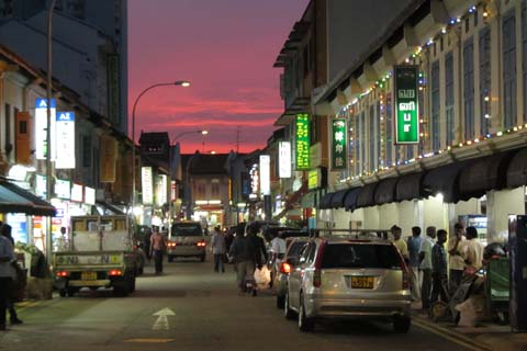 On a different night, a peaceful street in Little India