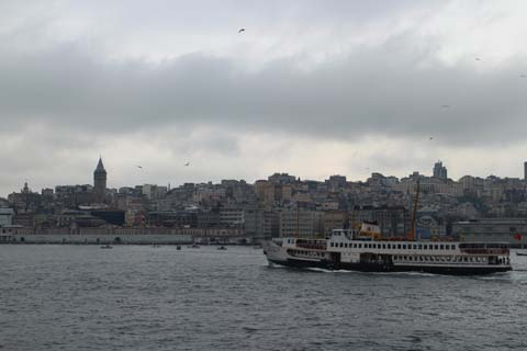 Kabataş waterfront rises steeply to Beyoğlu behind