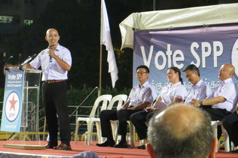 Abdillah Zamzuri speaking at a rally in Bishan-Toa Payoh, where the Singapore People's Party and the Democratic Progressive Party are fielding a joint team