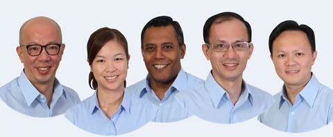 Four of five Workers'Party candidates in Marine Parade are new. L-R: Terence Tan and He Ting Ru are lawyers; Firuz Khan is a corporate manager; Yee Jenn Jong is an education entrepreneur, Dylan Foo is a banking professional.