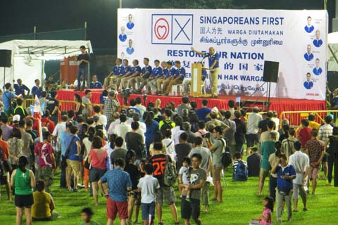 An election rally by Singaporeans First, held at Queenstown Stadium.